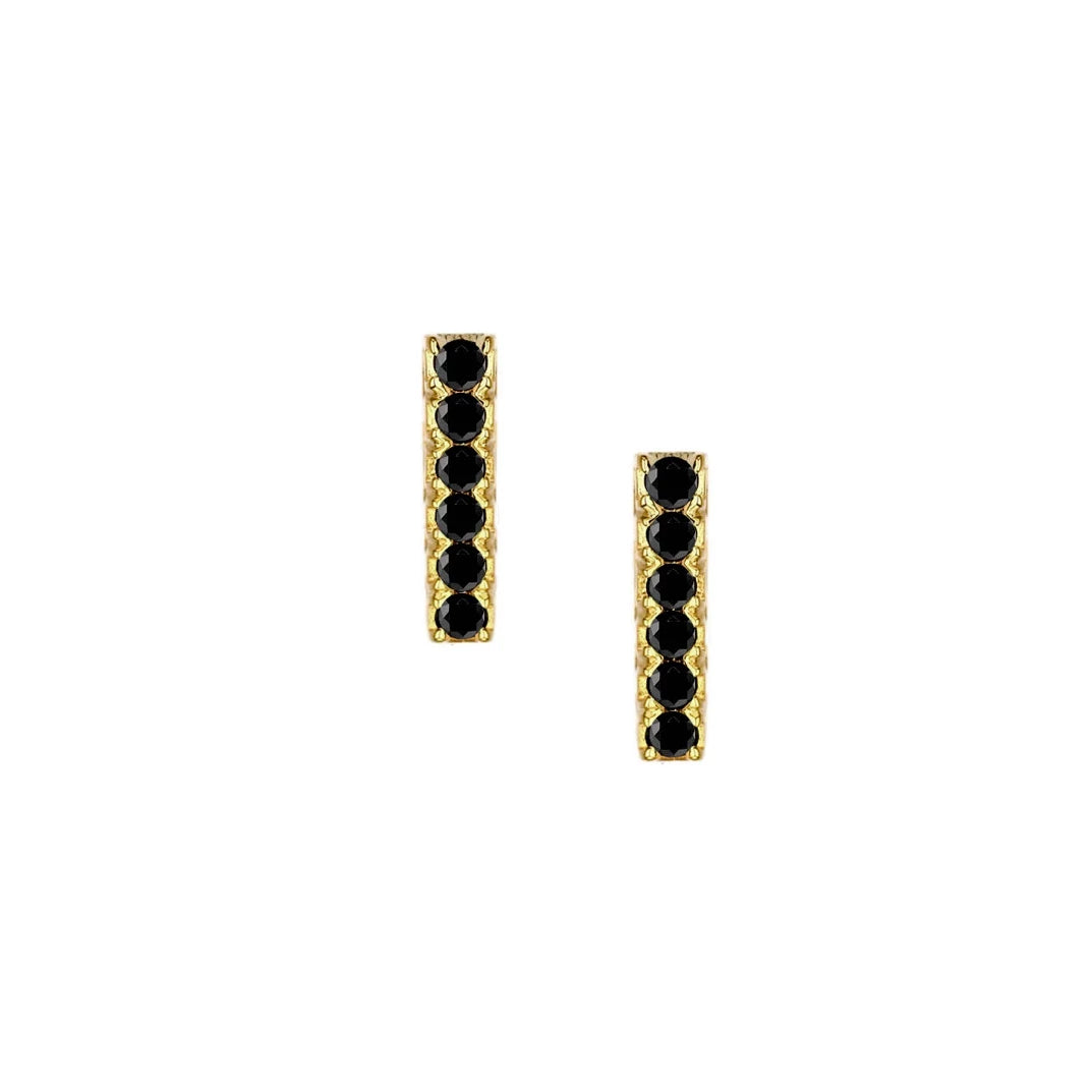 Black Sparkle Bar Stud Earrings