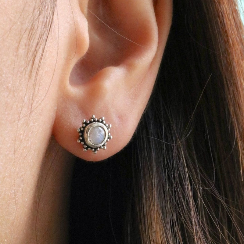 Boho Moonstone Stud Earrings