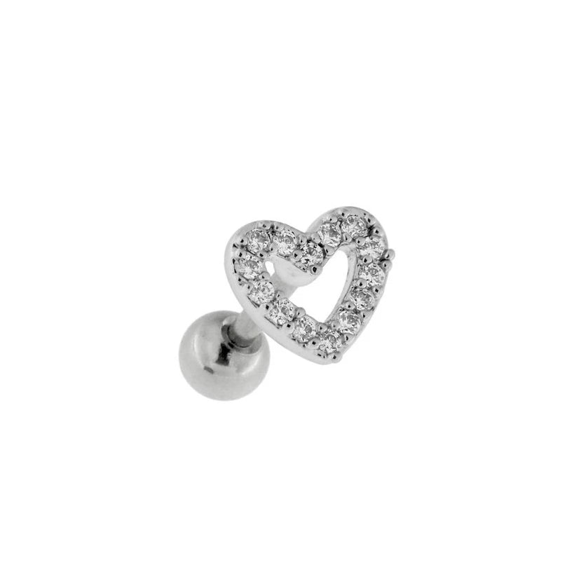 Jewel Heart Cartilage Barbell