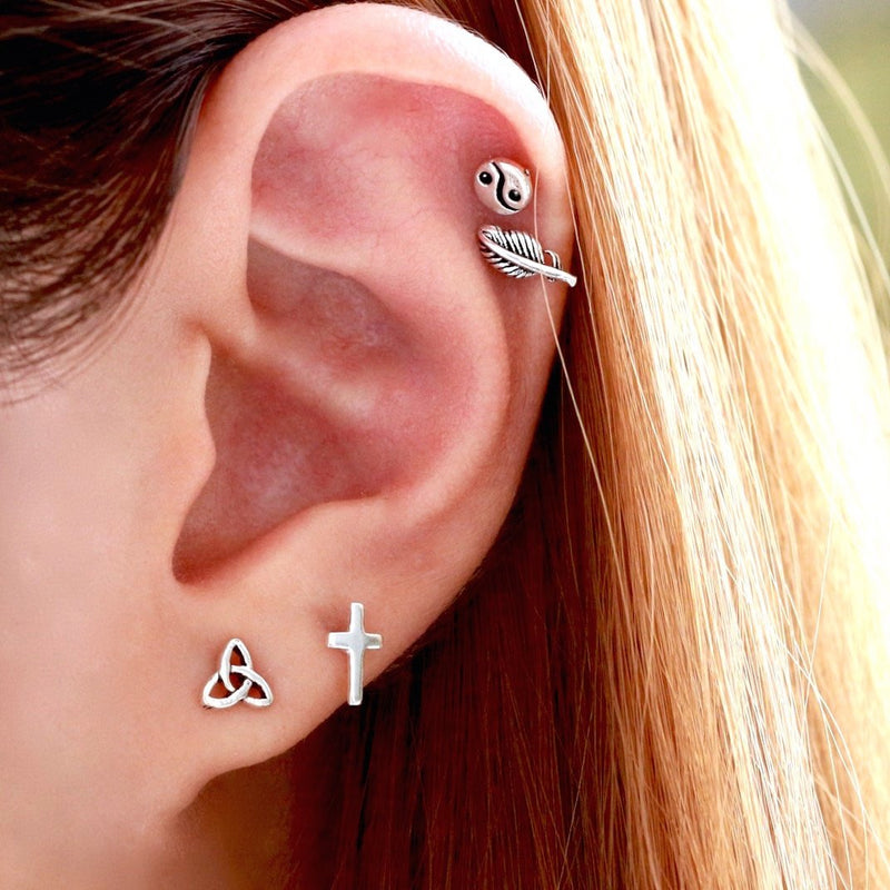 Celtic Tri Stud Earrings