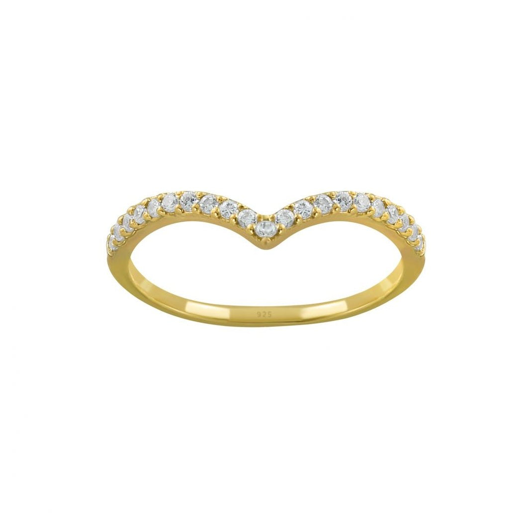 Chevron Pave Gold Ring