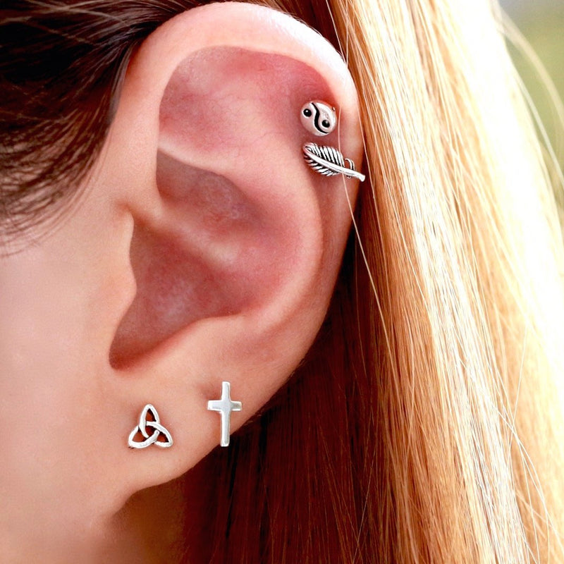 Classic Tiny Cross Stud Earrings
