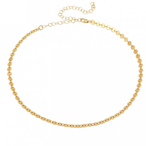 Coin Disc Choker Necklace
