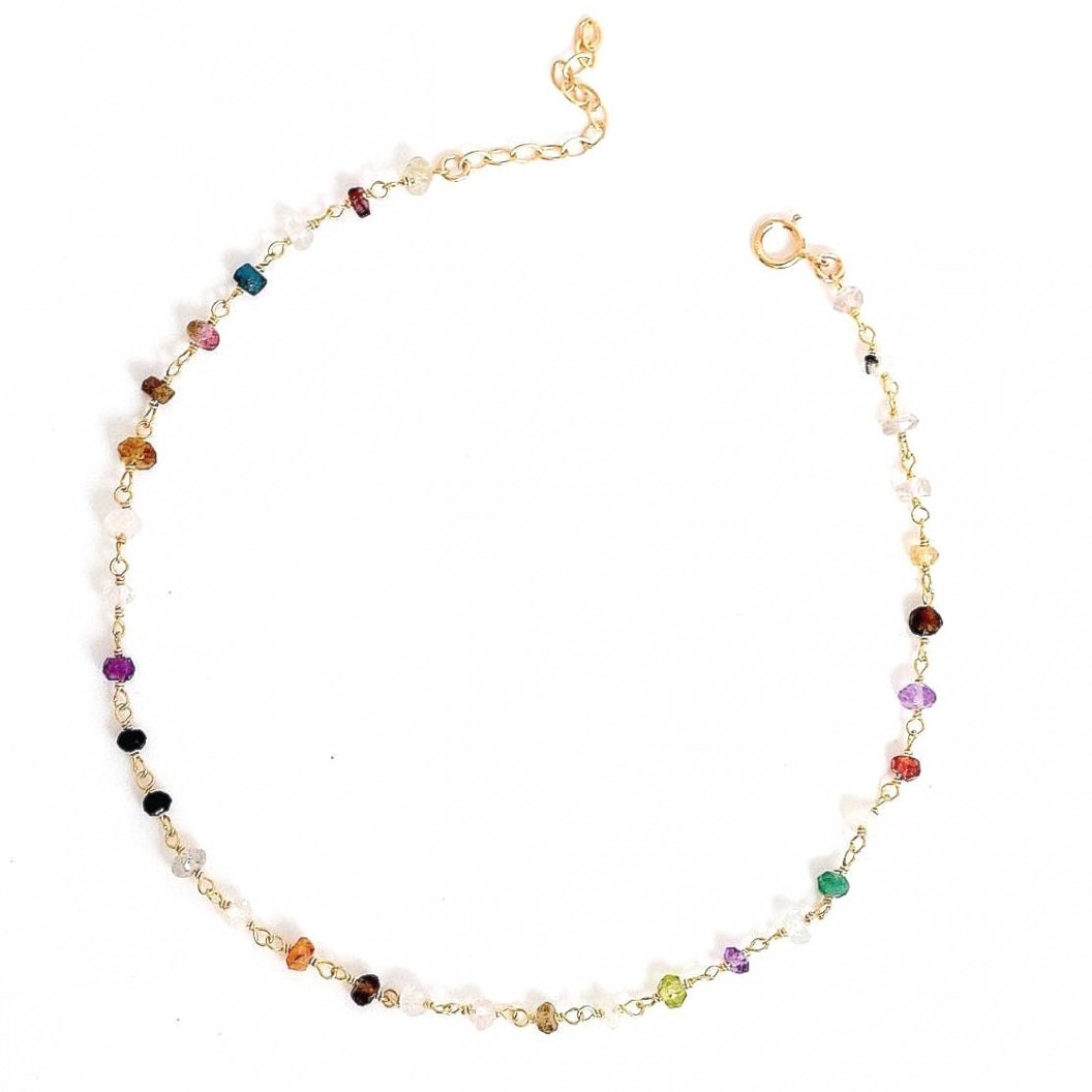Colorful Gemstone Anklet