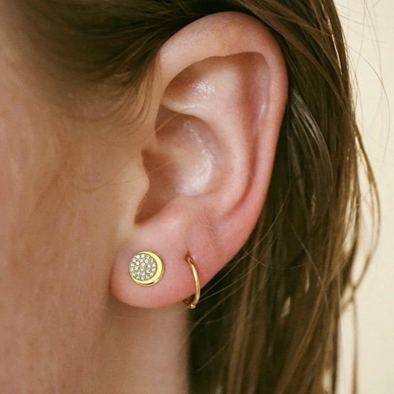 Divine Crescent Stud Earrings