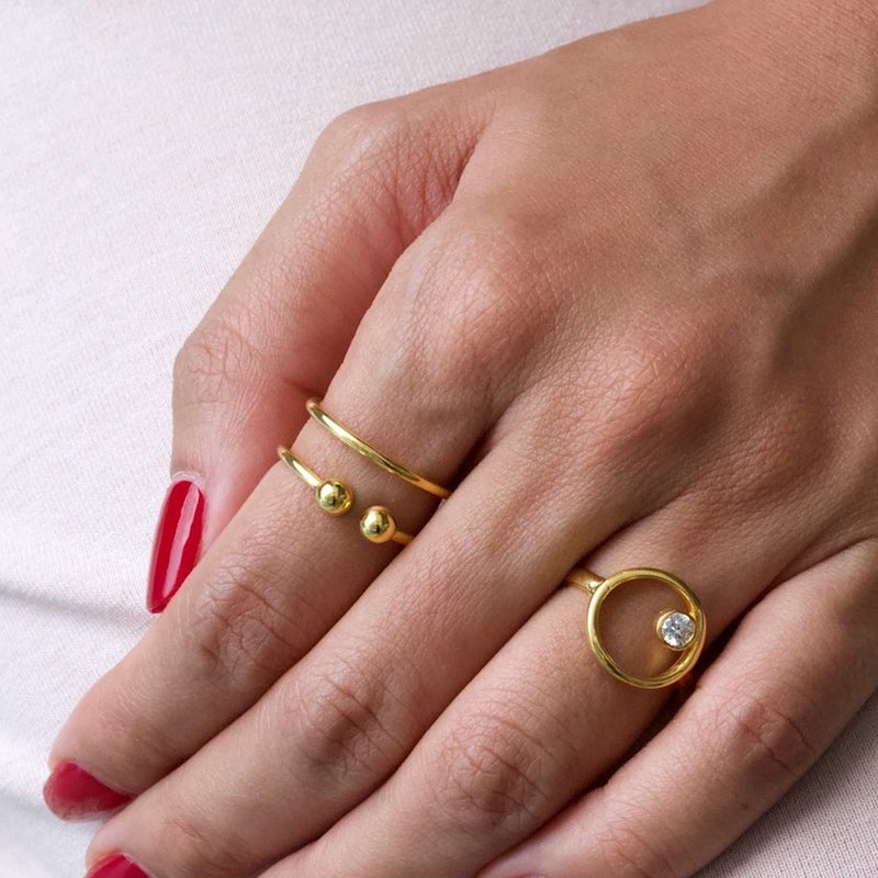 Double Band Ball Ring Gold