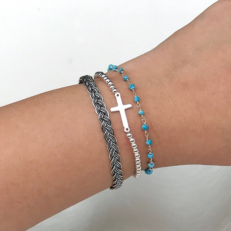 Faithful Cross Beaded Bracelet