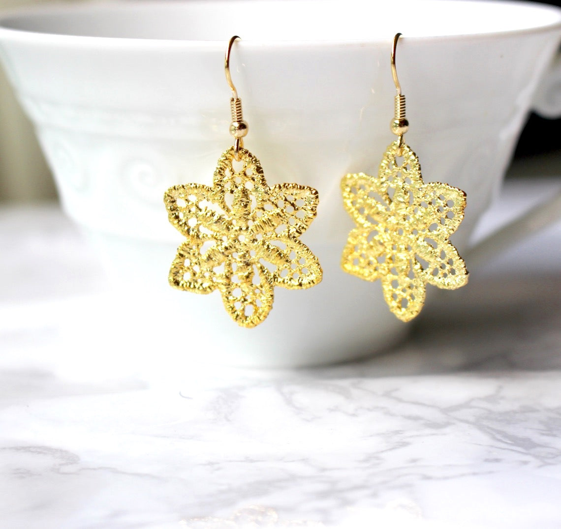 Filigree Lace Gold Earrings