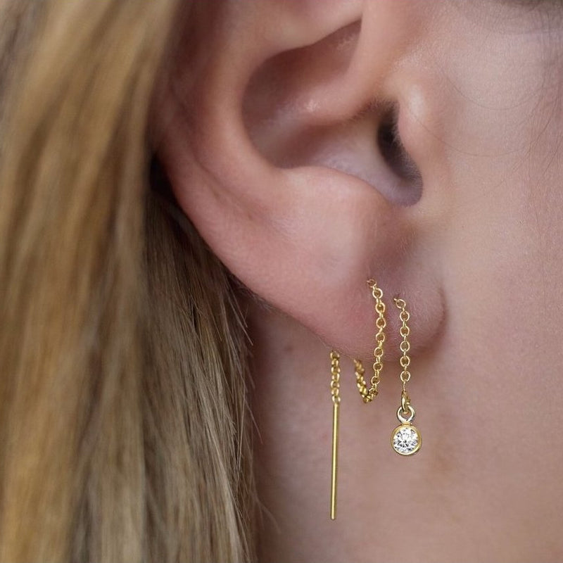 Gold Bezel Ear Threader