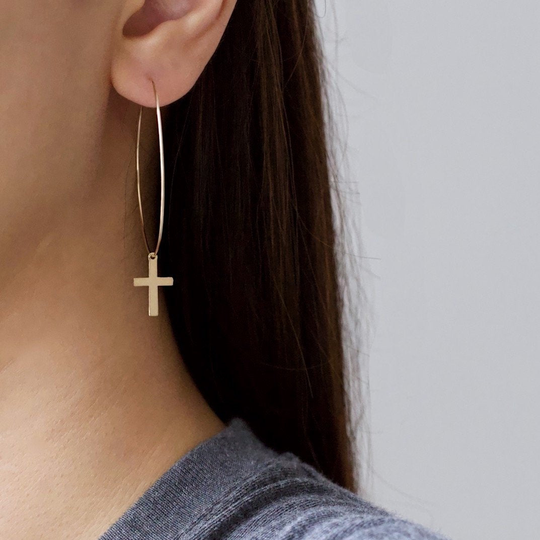 Golden Cross Big Hoop Earrings