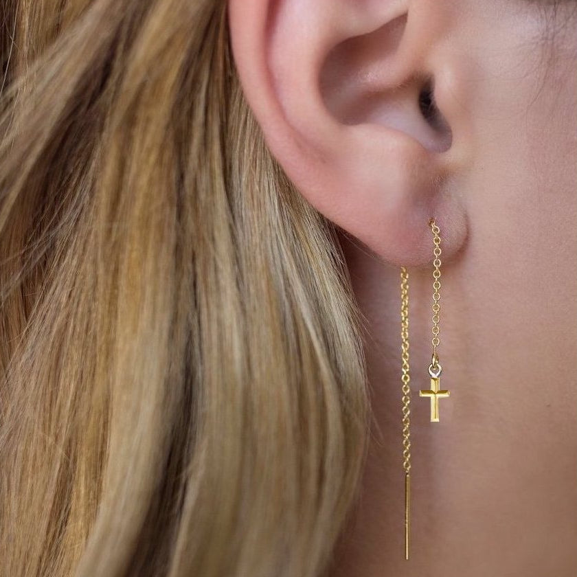 Golden Cross Threader Earrings