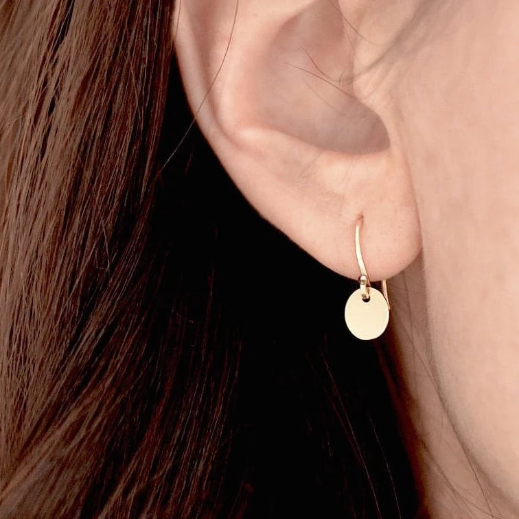 Golden Disc Drop Earrings