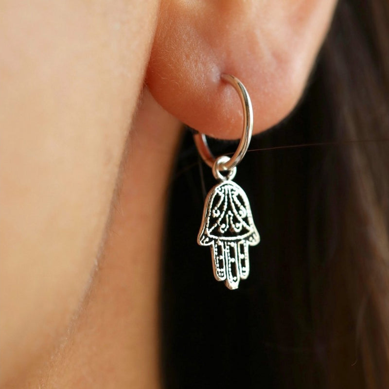 Hamsa Filigree Hoop Earrings