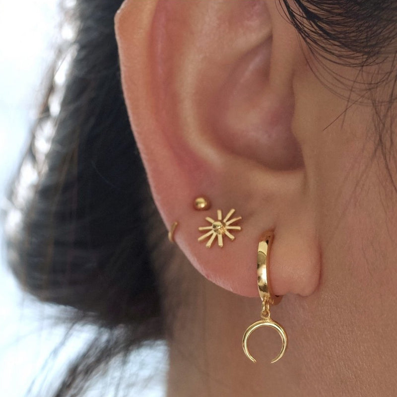 Horn Huggies Earrings