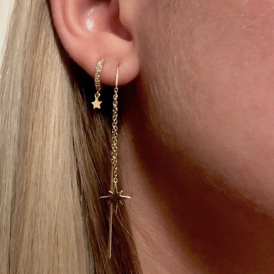 Luxe Star Pave Huggies Earrings