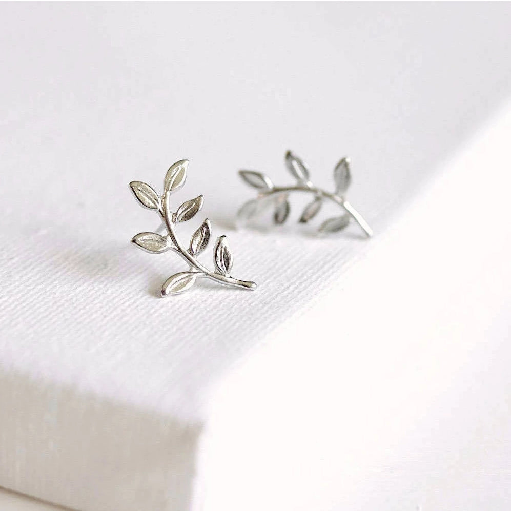 Leafy Twig Stud Earrings