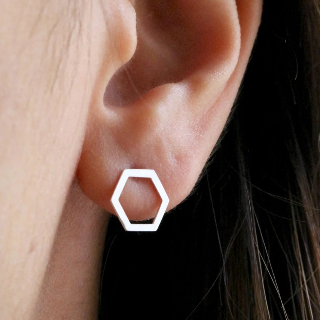 Modern Hexagon Stud Earrings