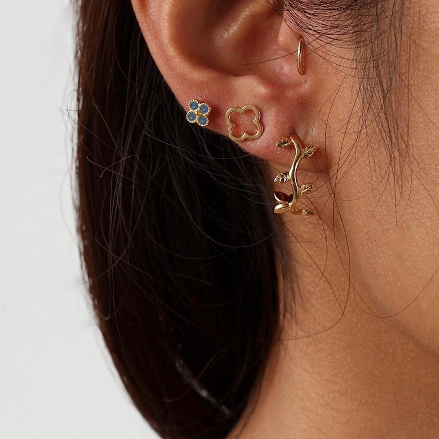 Olive Leaf Hoop Earrings