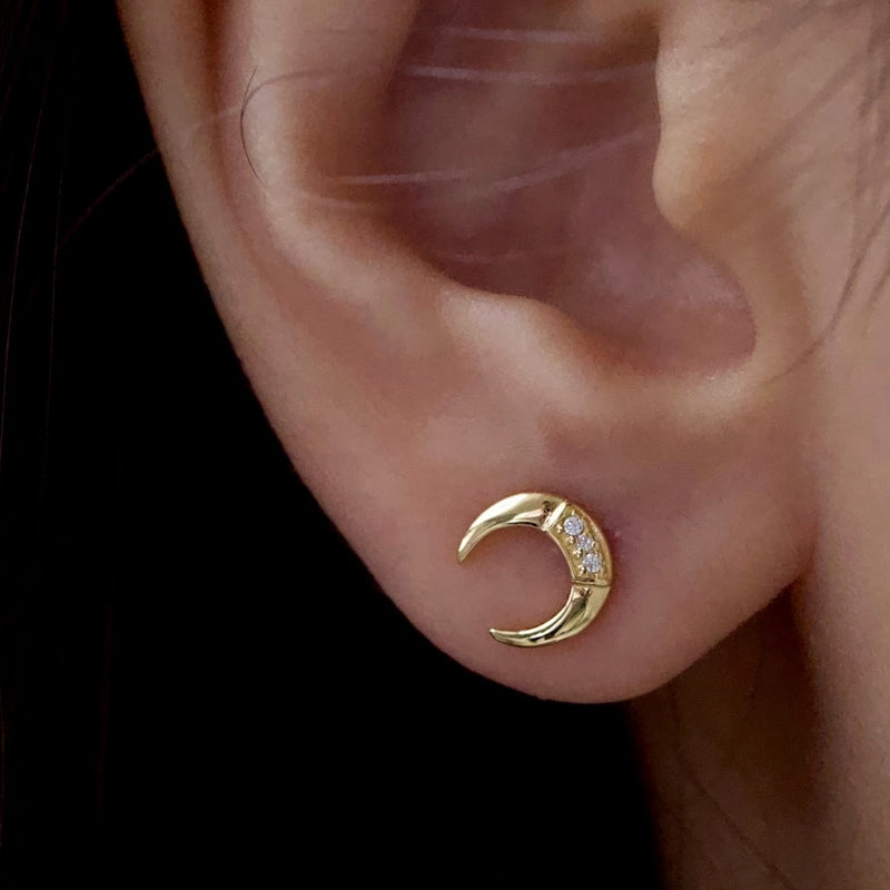Pave Moon Stud Earrings