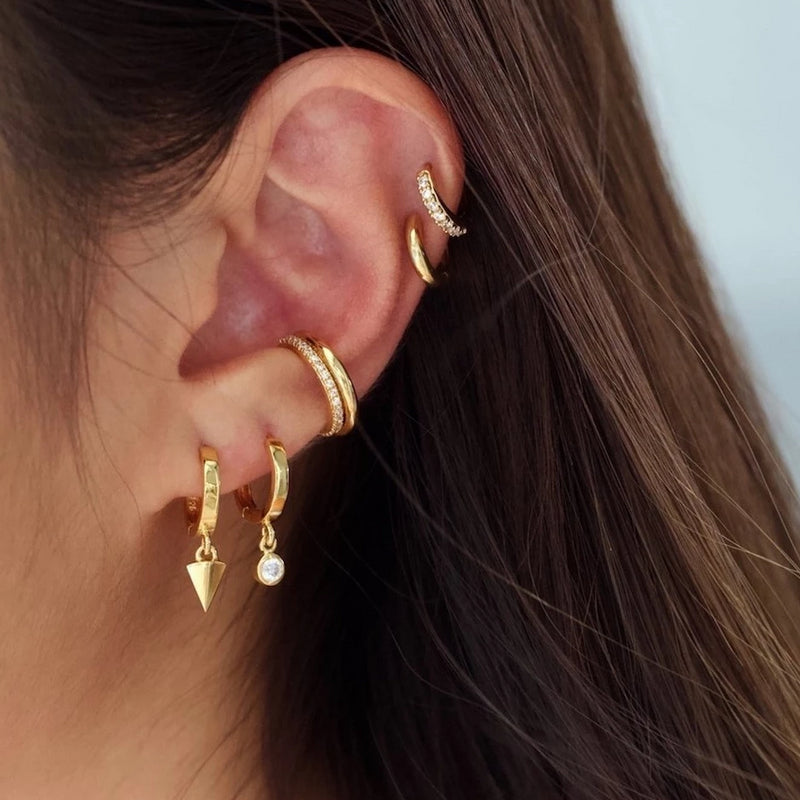 Pyramid Drop Hoop Earrings