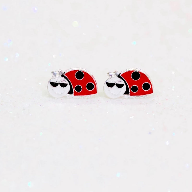 Red Beetle Stud Earrings