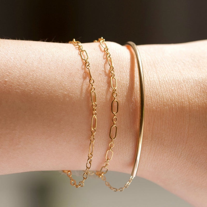 Golden Curved Bar Bracelet