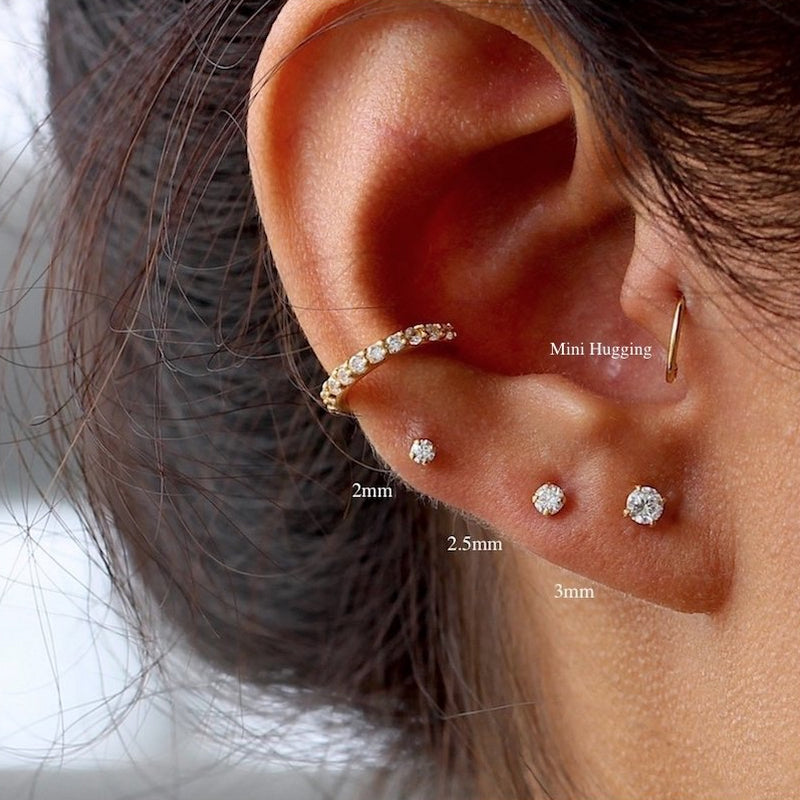 (Single) Sparkly Mini CZ Stud Earrings