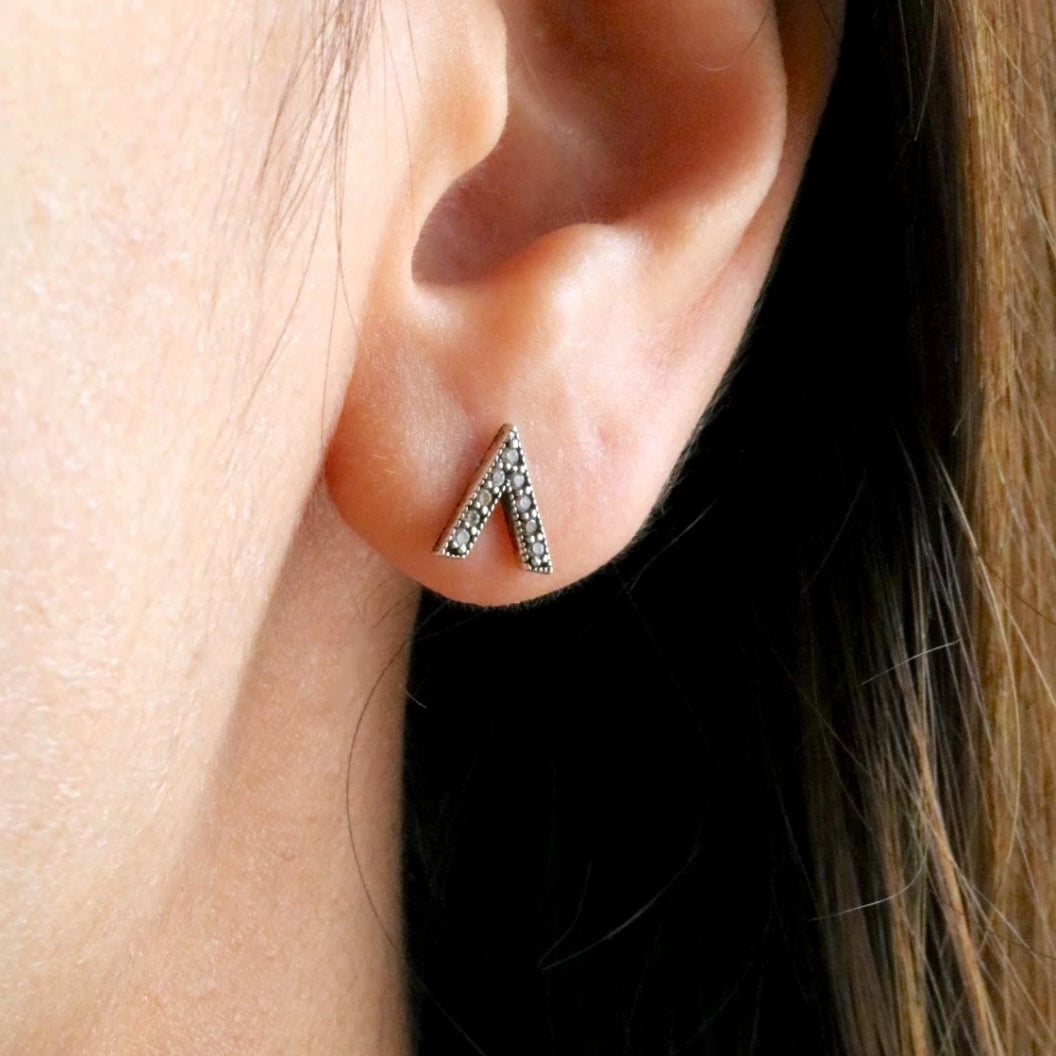 Sparkle Chevron Stud Earrings