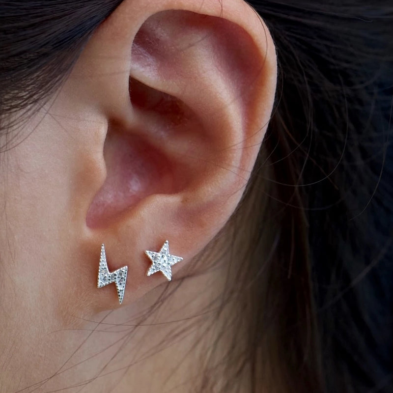 Sparkle Star Lightning Stud Earrings