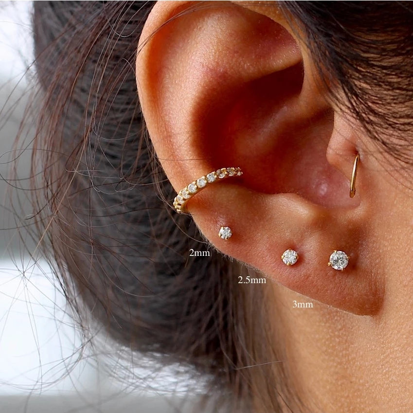 Sparkly CZ Stud Earrings Set