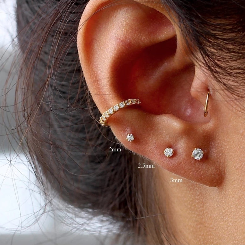 Stud Earring Set 2 Pair Post Earrings Tiny Disc Studs Hypoallergenic Mini Ball Studs Disc and Ball Studs Argentium Silver