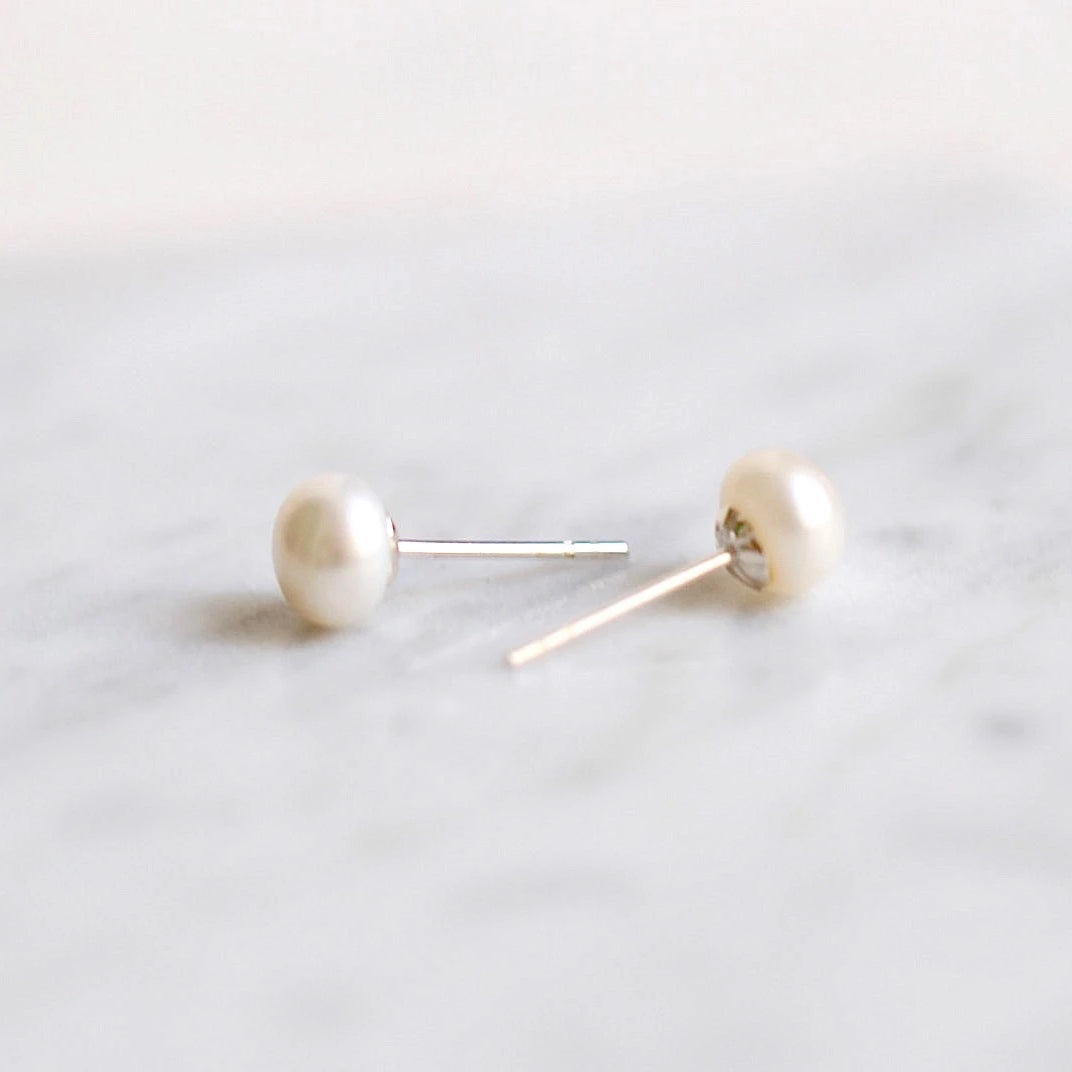 Tiny Timeless Pearl Stud Earrings