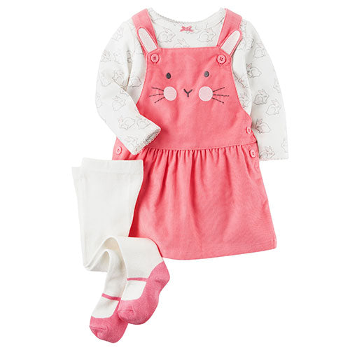 3-Pc. Top, Bunny Jumper & Tights Set, Baby Girls (18 months)