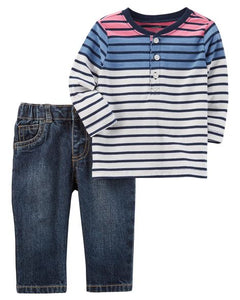 2-Piece Striped Henley & Denim Jean Set (3,9 and 12 months)