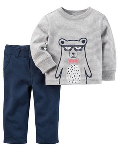 2-Piece Bear Jersey Top & French Terry Pant Set (3 months)