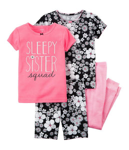 4-Piece Neon Snug Fit Cotton PJ's(2 T)
