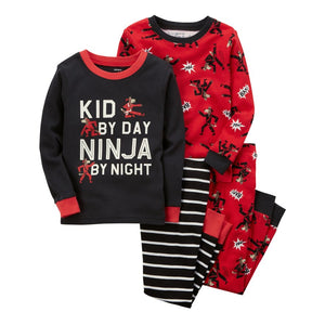 "carter's® Size 18M 4-Piece ""Kid By Day Ninja By Night"" Snug-Fit Pajama Set in Black/Red"