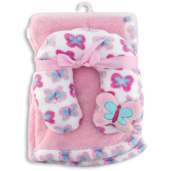 Crib-mates Blanket with Neck Support, Pink/Blue/White Butterfly