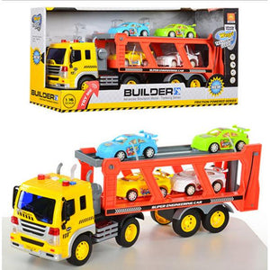 2-in-1 Friction Powered Car Carrier Truck 1:16 Toy Auto Transporter Vehicle with Lights and Sounds