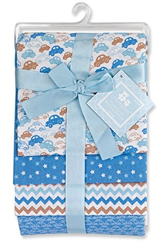 Regent Baby 4 Piece Crib Mates Receiving Blankets, Blue