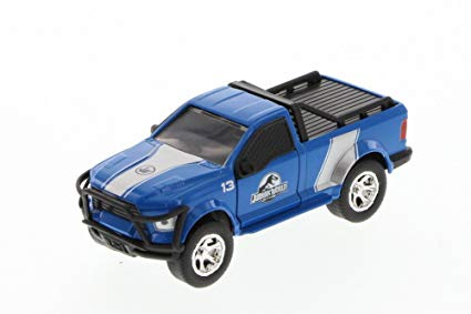 Jada Jurassic World Rescue Truck, Blue with White Stripes 97078 - 1/43 Scale Diecast Model Toy Car