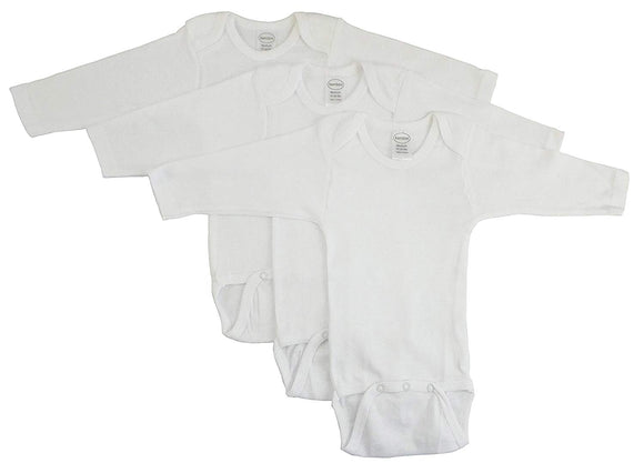 medium Bambini Long Sleeve White Onezie 3 Pack