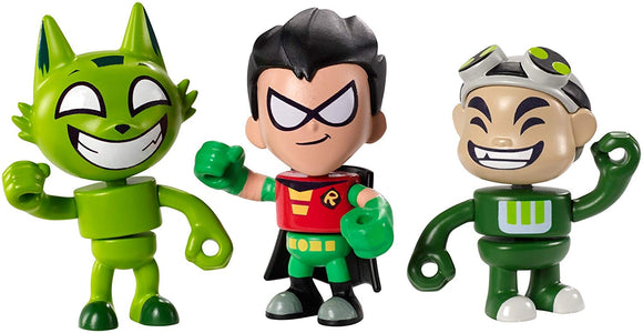 Teen Titans Go! Mini Gizmo, Kitten Beastboy & Robin Exclusive Figures, 3-Pack