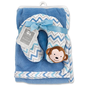 Cribmates Blanket with Neck Support, Blue/White/Grey Monkey