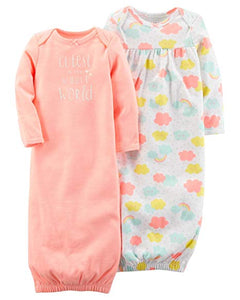 Carter's Baby Girls 2 Pack Babysoft Sleeper Infant Gowns (Rainbow)