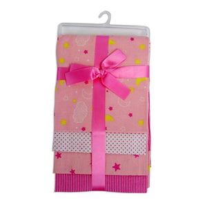 Bambini Pink Four Pack Receiving Blanket - Size - 30x40 - Girl