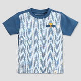 Burt's Bees Baby Toddler Boys' Organic Cotton Faux Twill Short Sleeve T-Shirt Star - Blue ( 4T )