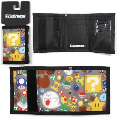 Bioworld Super Mario Tri-fold Wallet (Grey Multicolored)