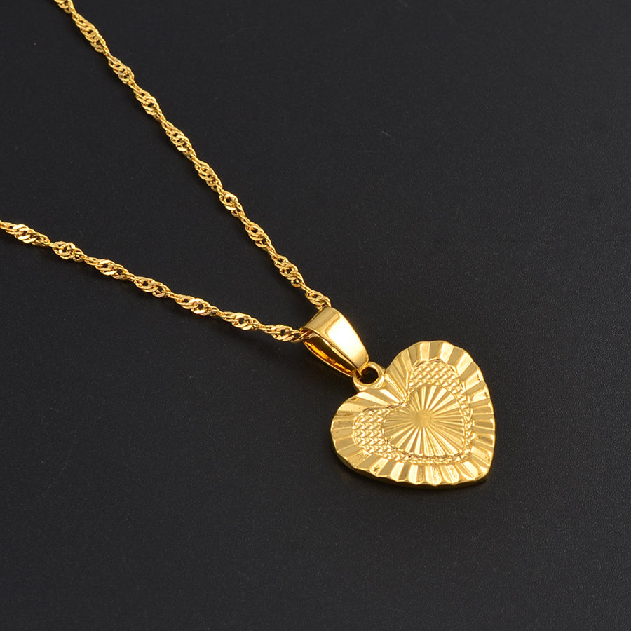 Gold Color Heart Pendant and Necklace for Womens