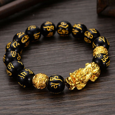 Feng Shui Obsidian Stone Beads Bracelet With Pixiu